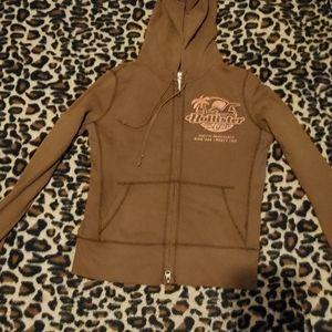 Brown Hollister Zip Up Jacket